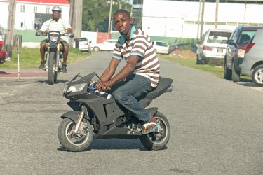 Can't handle a big bike? Get a mini. This was the scene along Robb Street today. (Arian Browne photo)