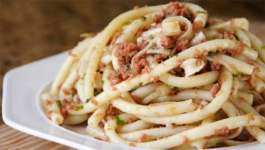 Bucatini with Corned Beef Photo by Cynthia Nelson