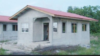 One of the turn-key houses at Perseverance, East Bank Demerara in its final stages [GINA photo)