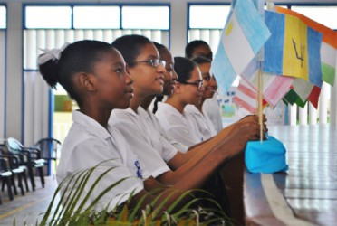 Marian Academy students in an activity during World Peace Day observances at the school on Friday. (Photo by Rebecca Low)