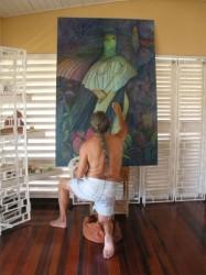 George Simon working on his Bimichi II painting