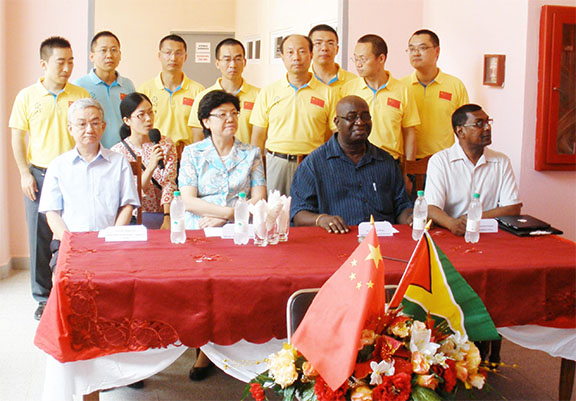 Sitting From Left Ambador Of The Republic China To Guyana Zhang Limin
