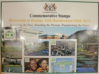 The four stamps that were launched at the University of Guyana to commemorate the institution's 50th anniversary. (Photo by Arian Browne)