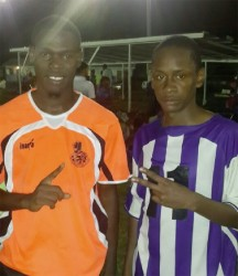 GFC's matching win duo of Keron Solomon (right) and Kevin Barton after their thrilling win over Pele
