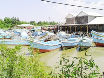 Boats docked at the fishing complex wharf.