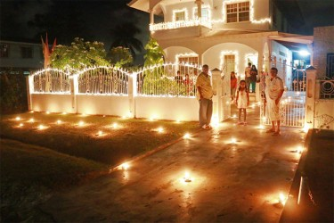 Fairy lights and diyas: This house at Cummings Lodge, East Coast Demerara had a combination of lights last night. (Photo by  Arian Browne)