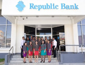New uniforms:  Republic Bank (Guyana) Limited staff yesterday showed off new uniforms.
