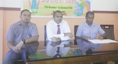 L-R Michael Browne, GCF's organizer, Hon. Minister of Culture, Youth and Sport Dr. Frank Anthony and GCF President Irshad Mohamad at yesterday's press conference for the staging of the Umada Cup next Thursday.