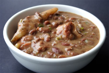 Stew-peas with pig tails and dumplings (Photo by Cynthia Nelson)