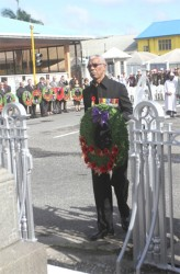 Opposition Leader David Granger lays a wreath at the Cenotaph (GINA photo)
