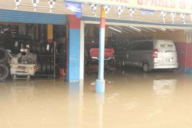 A flooded garage on Regent Street