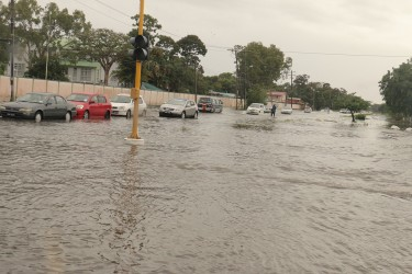 A virtual river on Homestretch Avenue today