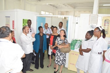 Minister of Health, Dr Bheri Ramsaran yesterday engaging nurses and doctors during a visit at the Georgetown Public Hospital's Maternal Unit. The visit came after the launch of Guyana's MDG Acceleration Framework and Campaign to improve Maternal Health. (GINA photo)