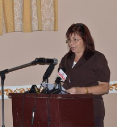 Dra Midalys Otero Hernandez, Director of Cuba Medical Brigade speaking to the doctors (GINA photo)