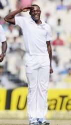 Left-arm seamer Sheldon Cottrell ... ready if Test call comes.