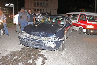 Persaud's damaged car after the collision.