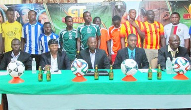 Players, sponsors and UDFA/Banks DIH executives at the launch of the 'Supa 16' tourney at the Watooka Complex.
