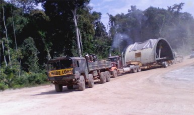 A section of the new grinding mill being transported to Guyana Goldfields Inc's Aurora gold mine. (Guyana Goldfields Inc photo)