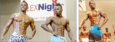 The top three finishers in the first Flex Night International Men's Physique contest on Sunday. From left is Suriname's Daes Burgzorg, Emmerson Campbell and Yannick Grimes.