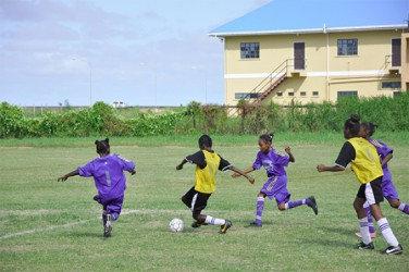 Aliyah Elaine (No.1) of Enterprise Primary in the process of challenging a St Stephens player for possession of the ball during their semi-final matchup.