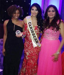 Caribbean queen: After being the only contestant from the Caribbean to be named in the top 10 of the competition, Miss Guyana World Rafieya Husain was crowned Miss World Caribbean which would see her being under official contract by the Miss World organisation. In this photograph Husain is flanked by franchise holder Natasha Martindale (left) and her mother Salena Khan. (Miss World photo)