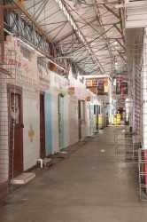 An empty passageway inside of the Stabroek Market.