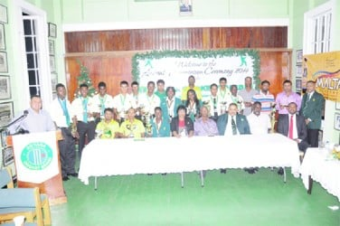 The award winners pose for a photo opportunity with members of the Guyana Cricket Board and other officials at Thursday night's ceremony.