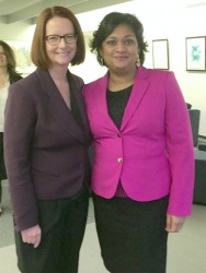 Education Minister Priya Manickchand (right) with Chairperson of the Board of Directors, Global Partnership of Education and former Prime Minister of Australia, Julia Gillard