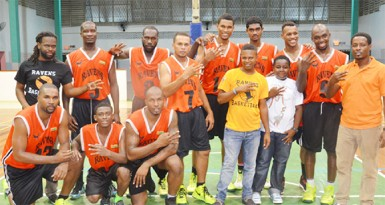 The Dynas Ravens team after they successfully defeated Republic Bank Nets to clinch their third consecutive Phillip George Memorial first division club championship.