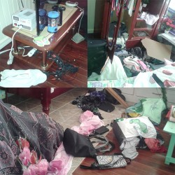 A composite photo showing the ransacked rooms