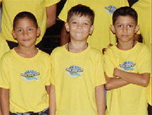 The eight years and under relay team from left to right, Vladimir Woodroffe, Elliott Gonsalves and Ethan Gonsalves.