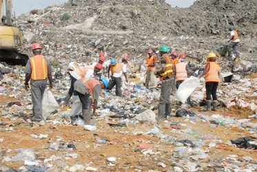 Waste pickers sorting through garbage for recyclable materials