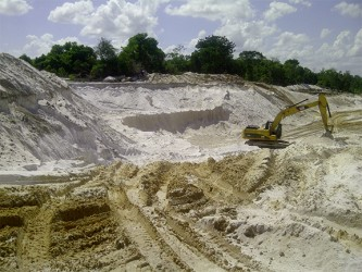 The area in Timehri North from where sand is being taken. APNU MP Joe Harmon says this should not be since the contract for the airport expansion project stipulates that the government is supposed to be delivering sand to the site and not allowing the contractor to dig up sand from a section of the community.