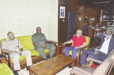 President Donald Ramotar (second from right)  meeting with Army Chief, Brigadier Mark Phillips (second from left) and Police Commissioner (ag), Seelall Persaud (left). Dr  Roger Luncheon is also in this GINA photo.