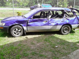 The badly damaged car after the accident