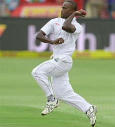 Kenroy Peters of the West Indies bowls during day 1 of the 2nd Test match between South Africa and West Indies at St. Georges Park yesterday in Port Elizabeth, South Africa. (Photo by Duif du Toit/Gallo Images)
