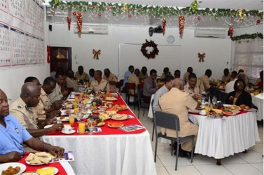 Members of the Joint Services at the annual Police Officers' Christmas breakfast today at the office of Commissioner of Police Seelall Persaud. (GINA photo)