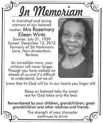 Mrs Rosemary Eileen Wintz