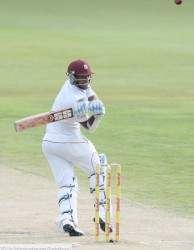 Left-hander Leon Johnson hooks during the third day's play on Friday. (Photo courtesy WICB Media)