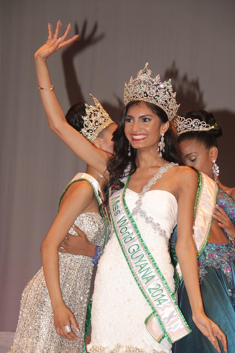 Rafieya Hussain when she was crowned Miss Guyana World on May 26.