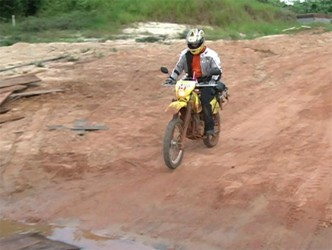 A lone biker from Canada who participated for the first time in the South Rupununi Safari (GINA photo)