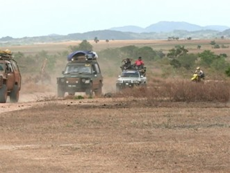 Some of the vehicles and a biker arrive in the South Rupununi (GINA photo)