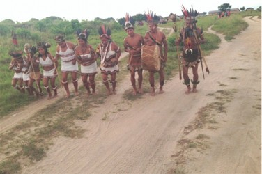 One of the cultural groups during their welcome dance to the participants of the second South Rupununi Safari (GINA photo)