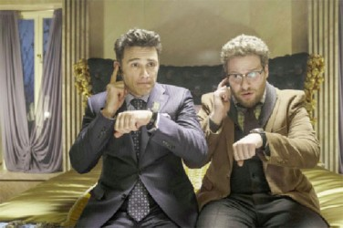 James Franco (left) and Seth Rogen (right) during a scene in The Interview