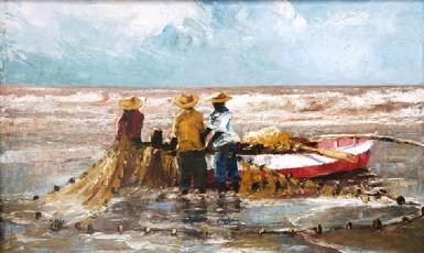 'Three Fishermen' 1997 by Merlene Ellis (Acrylic on Canvas) (Courtesy of Castellani House)
