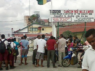 A crowd gathered at Caricom Rice Mills yesterday.