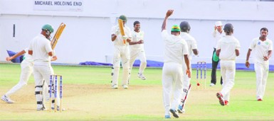 Closing in on victory! Carlton Baugh is adjudged lbw to Veerasammy Permaul by umpire Christopher Taylor on day three of the  fifth round match between Jamaica Franchise and Guyana Jaguars in the WICB Professional Cricket League Regional 4-Day Tournament on Sunday at  Sabina Park. (Photo courtesy of WICB media)