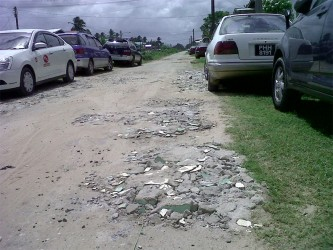 Bricks which residents have placed in the potholes.