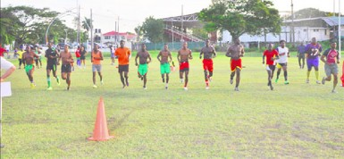 The National ruggers going through their paces during yesterday's beep test at the National Park.
