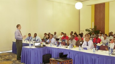 Lenovo official in discourse with local public and private sector IT functionaries  at the Pegasus Hotel